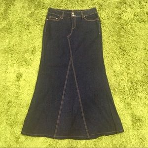 Mango MNG Women's Size 8 Maxi Skirt Panelled Denim